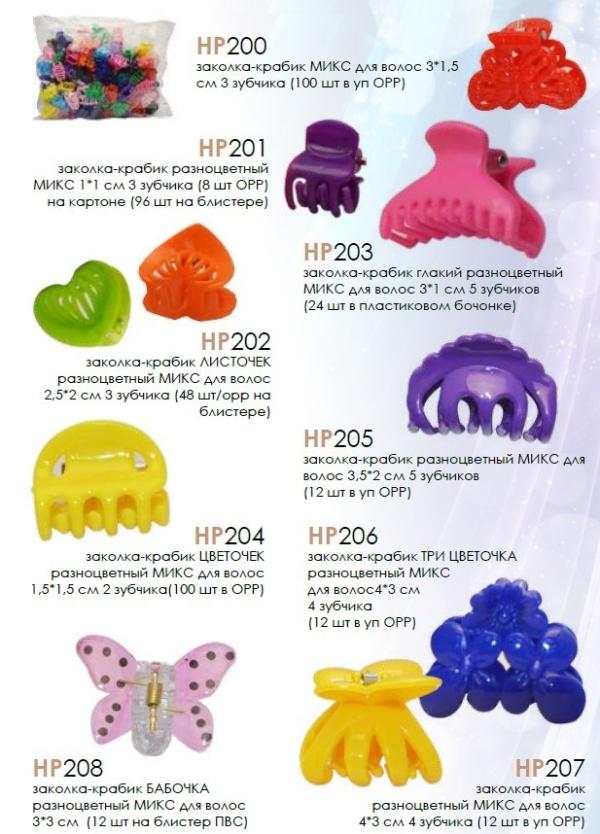 HP201 заколка-краб   разноцветный МИКС  для волос 1*1 см 3 зубчика по 8 шт в ОРР на картоне (96 шт н