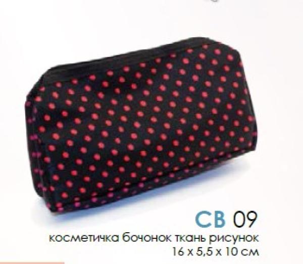 Косметичка CB 09   16*5,5*10см  ткань бочонок рисунок (10 шт/уп-300шт/кор)