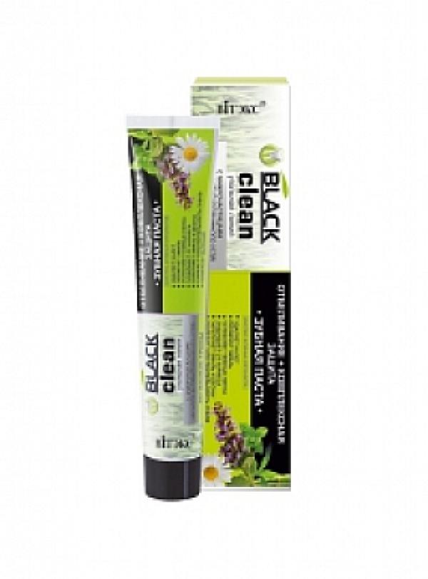 "BLACK CLEAN Зубная паста ""Отбеливание+комплексная защита""(лечебные травы), 85г./16"