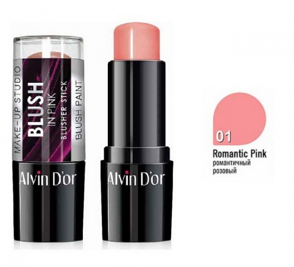 "BS-1 Стик румяна ""Alvin D`or"" blusher stick 9гр. (тон 01 романтичный розовый)"