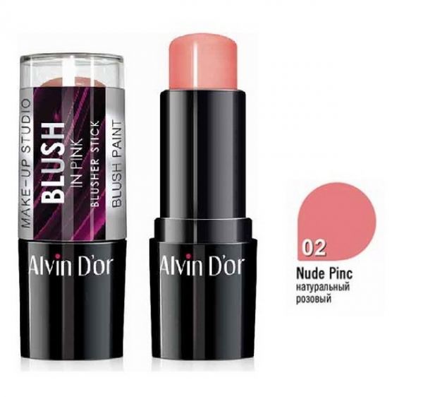 "BS-1 Стик румяна ""Alvin D`or"" blusher stick 9гр. (тон 02 натуральный розовый)"