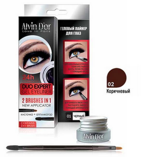 "P-11 Лайнер гелевый д/глаз ""Aivin D`or"" duo expert gel eyeliner (тон 02 brown)"