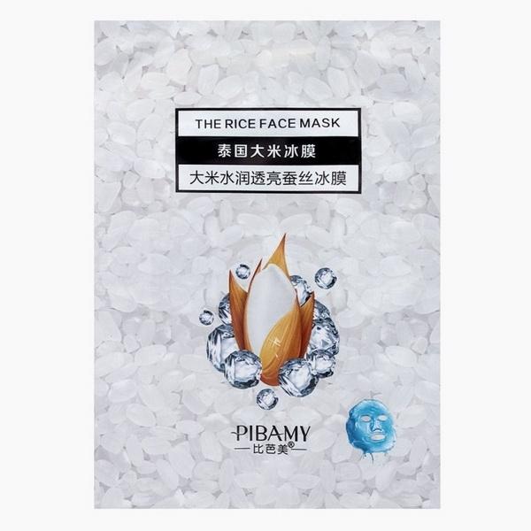 PBM02 PIBAMY  маска для лица THE RICE FACE MASK, ШЕЛКОВЫЙ ЛЕД ,РИСОВАЯ, омоложение белая упаковка