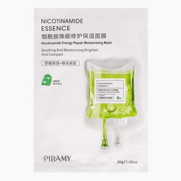 PBM05  маска для лица  NICOTINOMIDE essence,  эссенция никотинамидная, белая упаковка, зеленая капсу