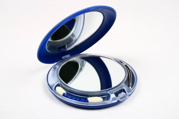 Зеркало компактное KF993 двухстороннее с подсветкой (внутри аппл.+пинцет)   (12/72) (шт.)